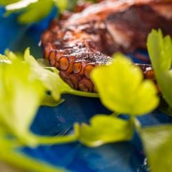 Polpo alla griglia con purea di patate viola della Tuscia